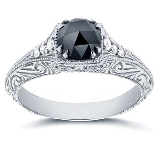 Annello by Kobelli 14k White Gold 1ct TDW Black and White Diamond Antique Filigree Engagement Ring