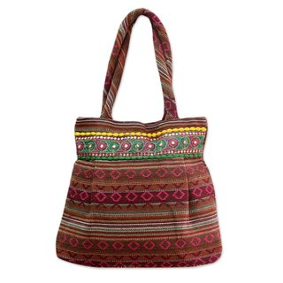 Handmade Cotton 'Sunset Flames' Shoulder Bag (India)