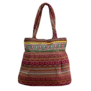 Handcrafted Cotton 'Sunset Flames' Shoulder Bag (India)
