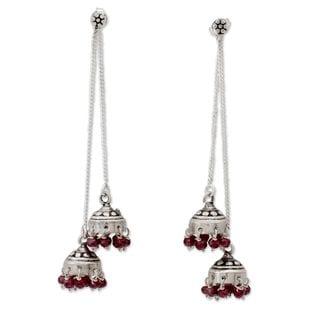 Handcrafted Sterling Silver 'Wedding Bells' Garnet Earrings (India)