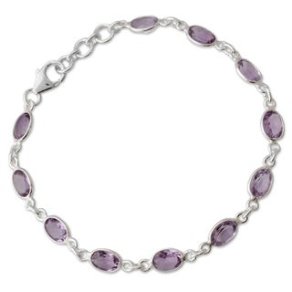 Romantic Violet 10 TCW Oval Faceted Purple Amethysts Bezel Set in 925 Sterling Silver Adjustable Length Womens Bracelet (India)