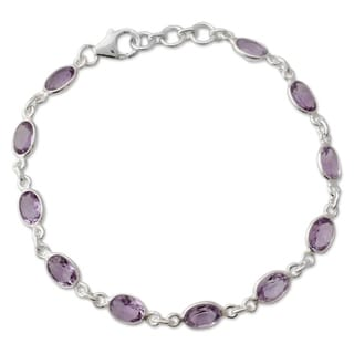 Handmade Romantic Violet Sterling Silver Bracelet (India)