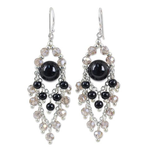 Handmade Sterling Silver 'Brilliant Meteor' Onyx Earrings (Thailand)