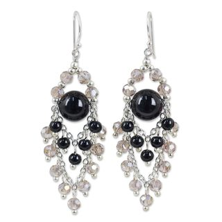Sterling Silver 'Brilliant Meteor' Onyx Earrings (Thailand)