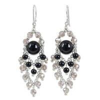 Handmade Sterling Silver 'Brilliant Meteor' Onyx Earrings (Thailand)