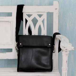 Handcrafted Recycled Tire 'Design By Mileage' Shoulder Bag (India)