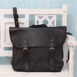 Upcycled Cotton Leather 'Environmentalist' Satchel (India)