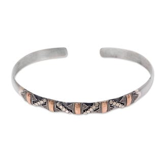 Handcrafted Sterling Silver 'Spots and Dots' Cuff Bracelet (Indonesia)