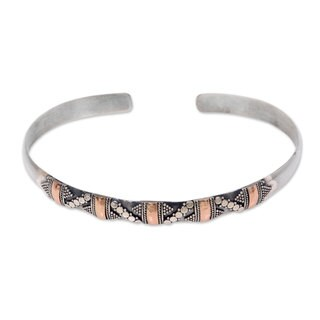 Handmade Sterling Silver 'Spots and Dots' Cuff Bracelet (Indonesia)