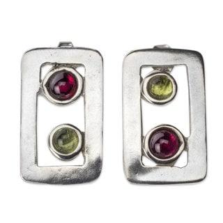 Handcrafted Sterling Silver 'Adrift' Peridot Garnet Earrings (Mexico)