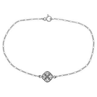 Carolina Glamour Collection Sterling Silver Celtic Trinity Knot Stationary Charm 9 Inch Anklet