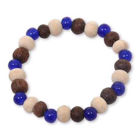 Handmade Ceramic Albesia Wood 'Blue Connection' Bracelet (Indonesia)