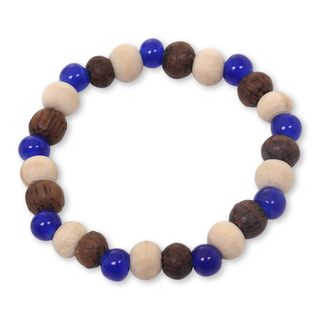 Handmade Ceramic Albesia Wood 'Blue Connection' Bracelet (Indonesia)