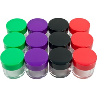 Stalwart 12 pc 20ml Clear Storage Jars Colored Lids