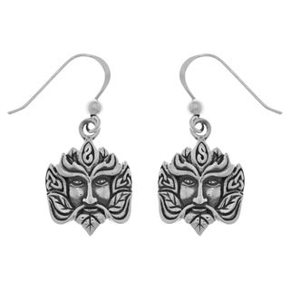 Carolina Glamour Collection Sterling Silver Celtic Green Man Dangle Earrings