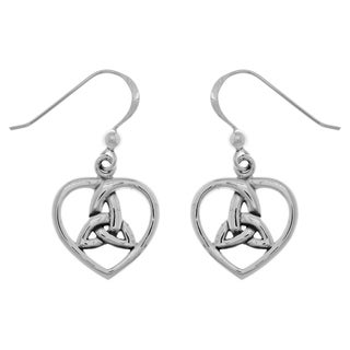 Carolina Glamour Collection Sterling Silver Celtic Trinity Knot Heart Dangle Earrings