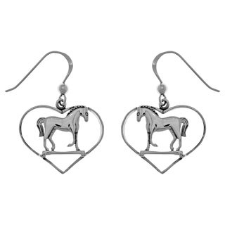 Carolina Glamour Collection Sterling Silver Horse in Heart Dangle Earrings