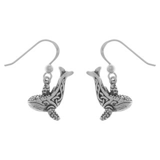 Carolina Glamour Collection Sterling Silver Celtic Knotwork Whale Dangle Earrings
