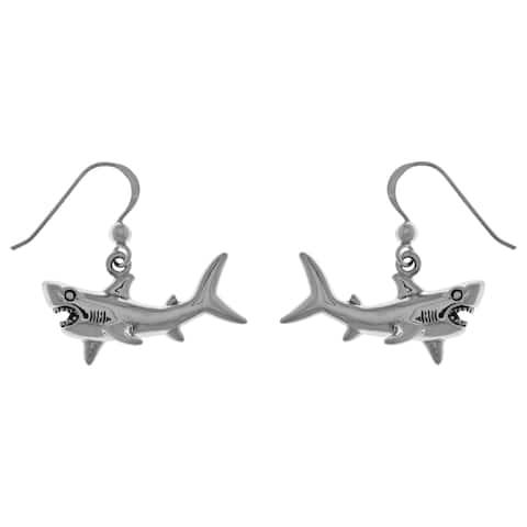 Sterling Silver Great White Shark Dangle Earrings
