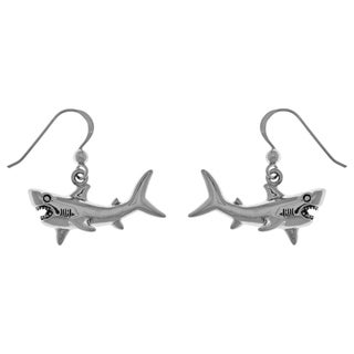 Carolina Glamour Collection Sterling Silver Great White Shark Dangle Earrings