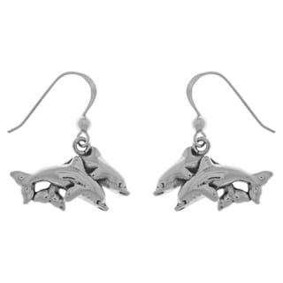Carolina Glamour Collection Sterling Silver Double Dolphin Mother and Child Dangle Earrings