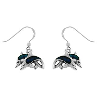Carolina Glamour Collection Sterling Silver Two Dolphin Love Dangle Earrings with Paua Shell Accents