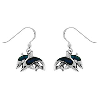 Sterling Silver Two Dolphin Love Dangle Earrings with Paua Shell Accents