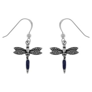 Carolina Glamour Collection Sterling Silver Dragonfly Dangle Earrings with Paua Shell Accents
