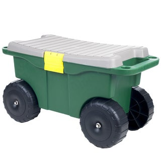Pure Garden 20 inch Plastic Garden Storage Cart and Scooter