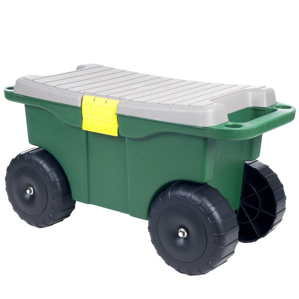 Pure Garden 20 Inch Plastic Garden Storage Cart And