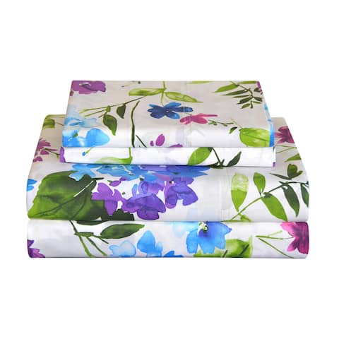 Pointehaven Primavera 200 TC Printed Cotton Percale Bed Sheet Set