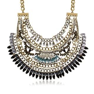 Adoriana Created Opal, Onyx and Aqua Crystal Bib Necklace
