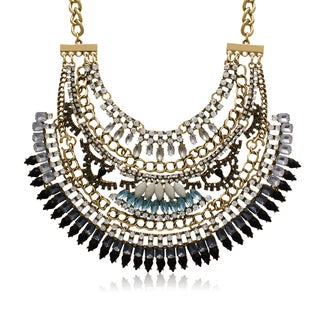 Adoriana White, Black and Aqua Crystal Bib Necklace - white