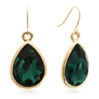 Adoriana Pear Shape Green Crystal Earrings, Gold Over Brass