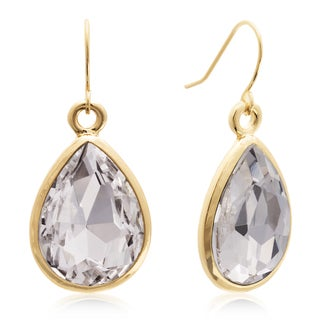 Adoriana 18 Carat Pear Shape Diamond Crystal Earrings, Gold Overlay