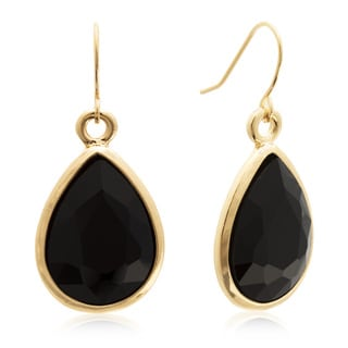 Adoriana 18 Carat Pear Shape Black Onyx Crystal Earrings, Gold Overlay