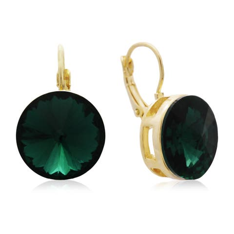 Adoriana Green Crystal Earrings, Gold Over Brass