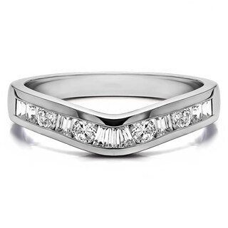 TwoBirch Sterling Silver Classic Style Curved Tracer Band mounted with Cubic Zirconia (0.5 Cts. twt) (More options available)