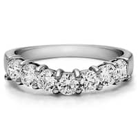 TwoBirch Sterling Silver Contour Style Cubic Zirconia Anniversary Wedding Ring