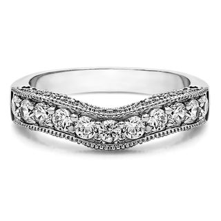 Sterling Silver Vintage Filigree & Milgrained Wedding Band mounted with Cubic Zirconia (1 Cts. twt)