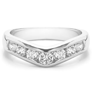 Sterling Silver Traditional Style Contour Wedding Band Mounted With Cubic Zirconia 0 75 Cts Twt