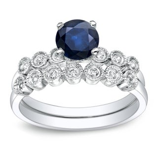 Auriya Vintage 4 5ct Blue Sapphire And 1 5ctw Diamond Engagement Ring Set 14k Gold