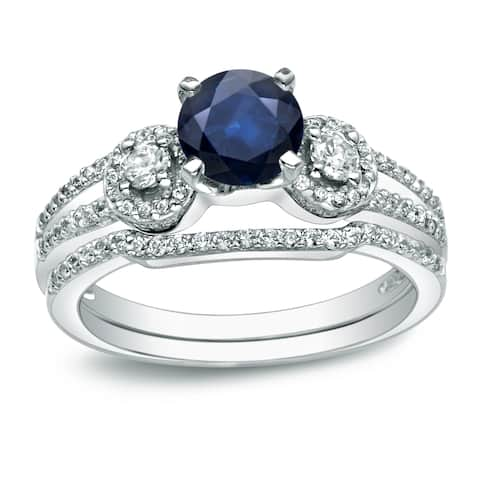 Auriya 14k Gold 1/2ct Round Blue Sapphire and 1/2ctw 3 Stone Diamond Engagement Ring Set