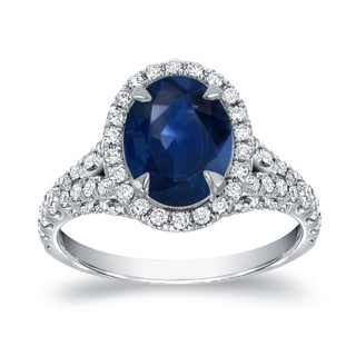 Auriya 18k White Gold 2ct Blue Sapphire and 1ct TDW Diamond Halo Ring (G-H, SI1-SI2)
