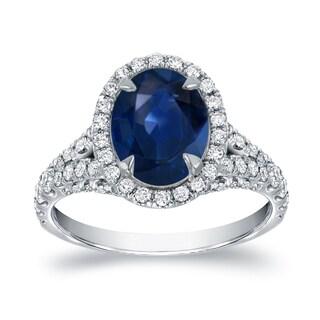 Auriya 18k White Gold 2ct Blue Sapphire and 1ct TDW Halo Diamond Engagement Ring