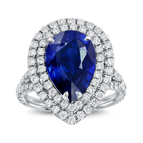 Auriya Pear-Shaped 3ct Blue Sapphire and 1ctw Diamond Double Halo Engagement Ring 18K Gold