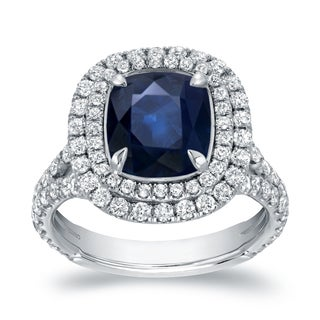 Auriya 18k White Gold 3ct Blue Sapphire and 1 1/5ct TDW Double Halo Diamond Ring (H-I, VS1-VS2)