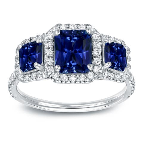 Auriya 1 3/4ct Blue Sapphire Radiant and 1/2ctw Halo Diamond Engagement Ring 14k Gold
