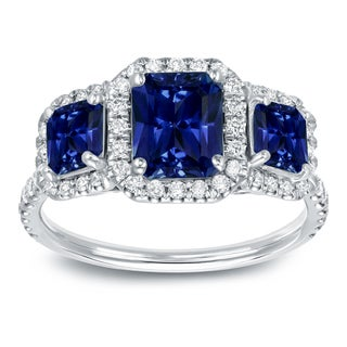 Auriya Royal Blue 1 3/4ct Radiant-Cut Sapphire and 1/2ct TDW Diamond Halo Engagement Ring 14k Gold