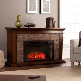 Harper Blvd Utley 60-inch Simulated Stone Electric Fireplace